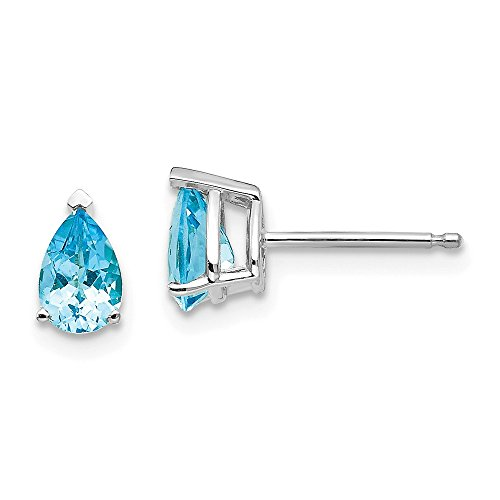 Perfect Jewelry Gift 14k White Gold 6x4mm Pear Blue Topaz Earrings