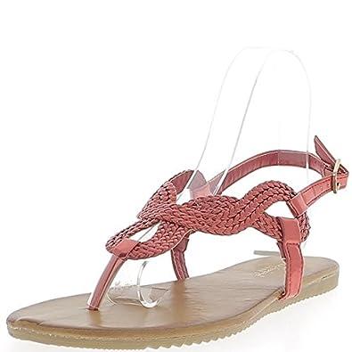 Nu-pieds rouges aspect cuir verni brides tressées Kwa9GScFWJ