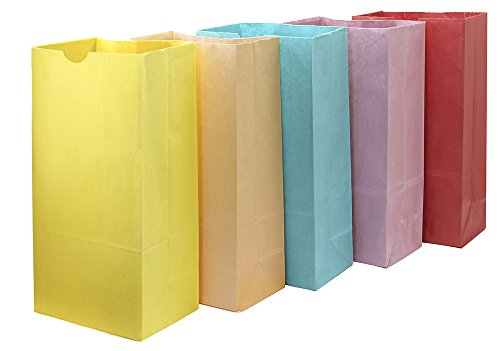 Hygloss Products Colored Paper Bags – 50 Assorted Colors for Party Favors, Puppets, Crafts, 6 x 3.5 x 11 Inches