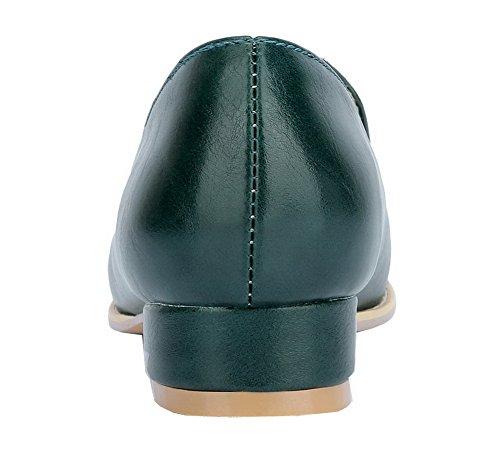 AgooLar Damen Schließen Zehe Niedriger Absatz PU Ziehen auf Pumps Schuhe Dunkelgrün