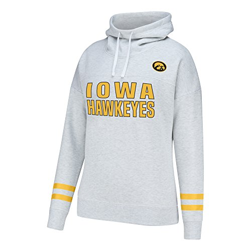 Iowa Hawkeyes Ncaa (J America NCAA Iowa Hawkeyes Women's School Spirit Front Row Cowl Neck Fleece, X-Large, Light Heather)