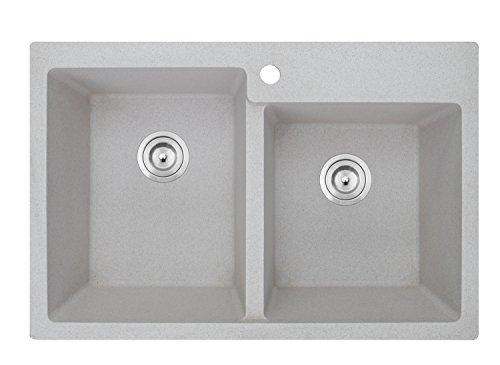Ruvati 33 x 22 inch epiGranite Dual-Mount Granite Composite Double Bowl Kitchen Sink - Carribean Sand - (E-granite Double Bowl Undermount Sink)
