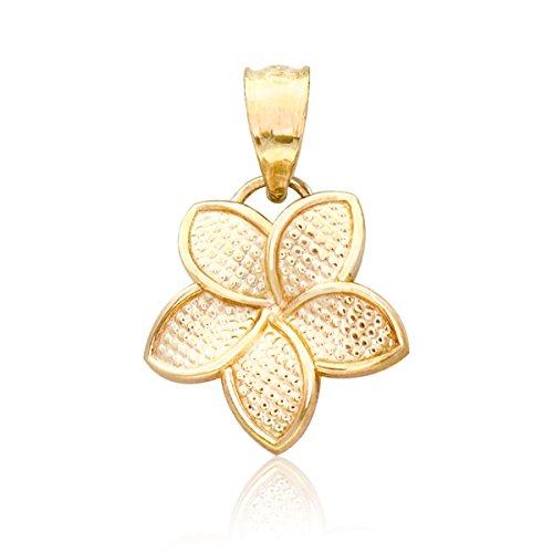 Plumeria Mm Pendant 15 (Honolulu Jewelry Company 14K Yellow Gold Plumeria Flower 15mm Necklace Pendant)