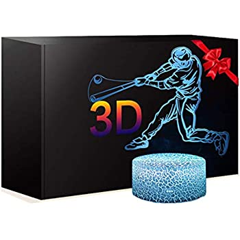 Baseball Night Light with 7 Colors Changing- LED 3D Optical Illusion Lamp for Kids Room Decor and Football Fans (Baseball)