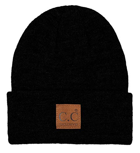 Classic Logo Beanie - MH-100-106 Men's Beanie Classic Knit Hat w/CC Logo Patch - Black