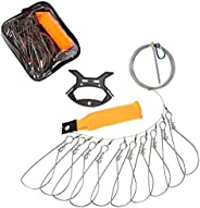 Techson Fish Stringer Kit, Portable Live Fish Large Buckle Lock, Stainless Steel Fishing Gear Accessories, Inc
