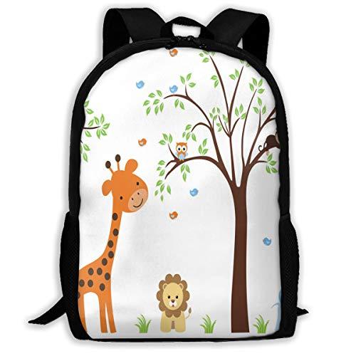 Backpack For Girls Boys Cute Jungle Animal Lion Bird Monkey Zipper School Bookbag Daypack Travel Rucksack Gym Bag For Man Women