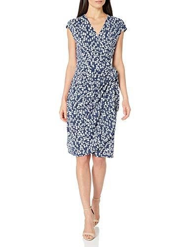 Amazon Brand - Lark & Ro Women's Classic Cap Sleeve Wrap Dress, Navy White Mini Floral , Small