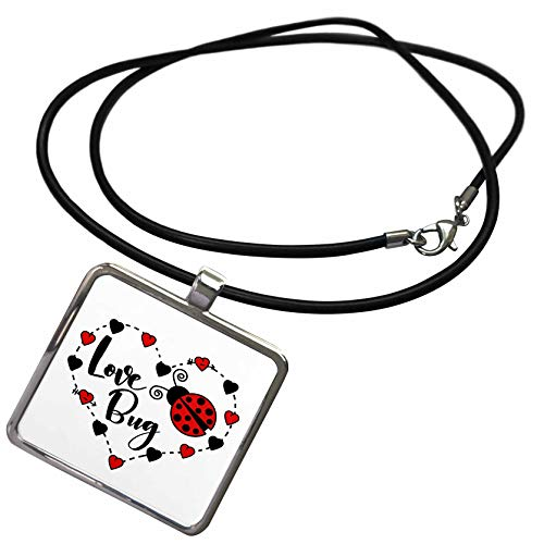 (3dRose Janna Salak Designs Love - Love Bug Ladybug - Necklace With Rectangle Pendant)