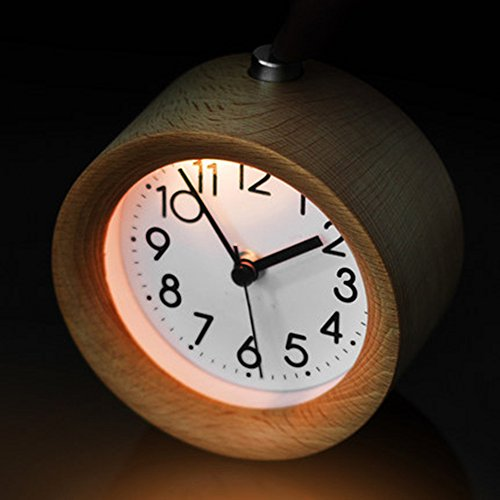 Jinberry Silent Sweep Handmade Round Wooden Snooze Alarm Clock with Night Light and Gradual Wake Up Alarms - Silver Birch