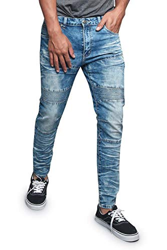 G-Style USA Men's Sectioned Ribbed Thigh Padded Knee Bleached and Artisanal Creased Biker Denim Jeans DL1197 - Indigo - 34/30 - R2D