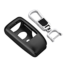 [M.JVisun] Car Remote Keyless Entry Transmitter Key Case Cover Fob Skin for Lexus ES IS GS RC NX RX LS Engine Start Stop Smart Key , Aircraft Grade Aluminum Protective Shell With Key Chain (Black)