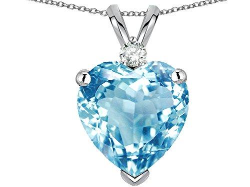 (Star K 8mm Heart Shape Simulated Aquamarine Pendant Necklace 14 kt White)