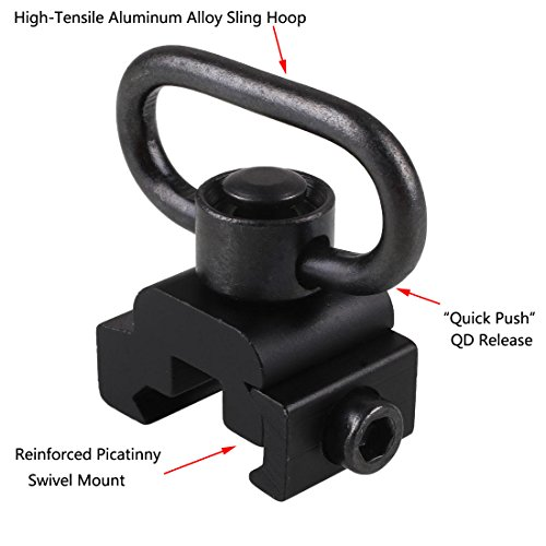 QD Sling Swivel Mount - with Release Button (Picatinny / Weaver) by Esdabem (QD Sling Attachment, Two Point and Traditional Slings)