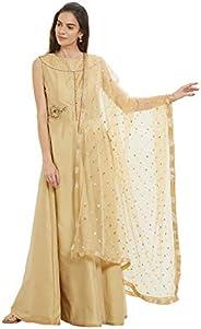 Dupatta Bazaar Woman's Embellished Gold Net Dup