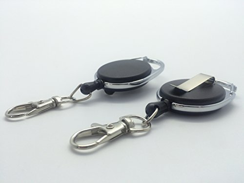 Black Retractable Key Reel with Carabiner