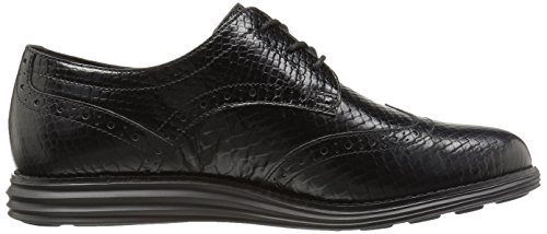 Cole Haan Women's Original Grand Wingtip Oxford Black Snake Print Leather/Optic White buy cheap best clearance outlet store d2Tx1UB