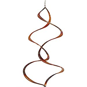 Sunnydaze Wind Spinner Twister Copper Metal with Hanging Hook, 12 Inch - for Outdoor Garden, Yard, and Patio
