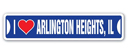 I Love Arlington Heights Illinois Street Sign Il City State Us Wall Road Gift 2PCS (Arlington Heights City)