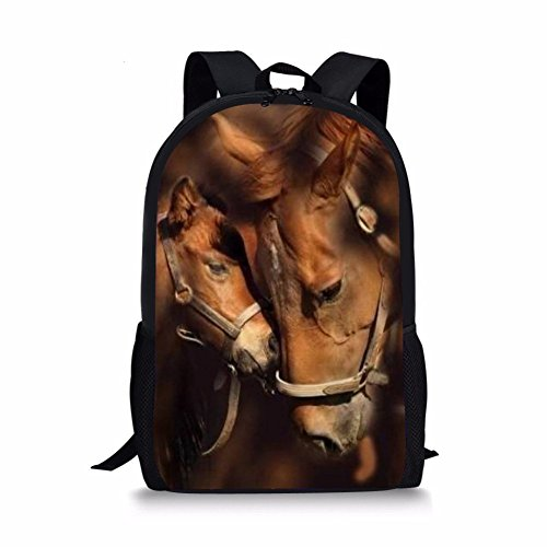 Horse Backpack - School Bags For Teenager Cute Two Horses Print Personalized Children Backpack