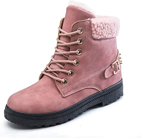 GIY Womens Lace-up Snow Boots Ankle High Leather Low Heel Outdoor Work Combat Boots Waterproof Ankle Bootie