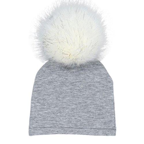 Kollmert Newborn Baby Boys Girls Winter Warm Solid Hats Hairball Beanie Cotton Cap (Gray) ()