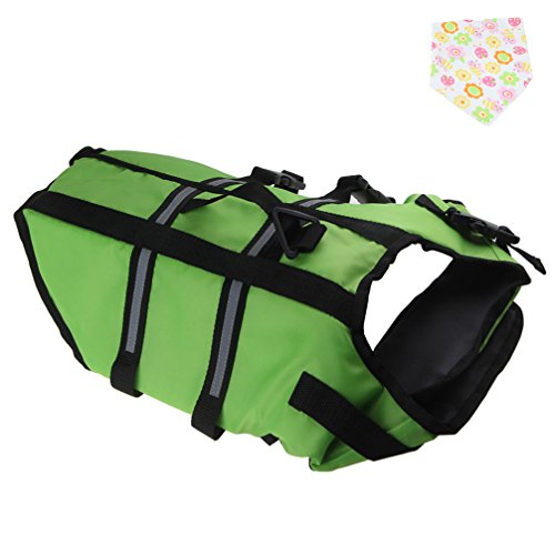Pet Dog Doggy Life Jacket Life Vest Saver Preserver Reflective Nylon Neoprene Quick Release Adjustable With Cute Bandana (Small, Green) by Emours