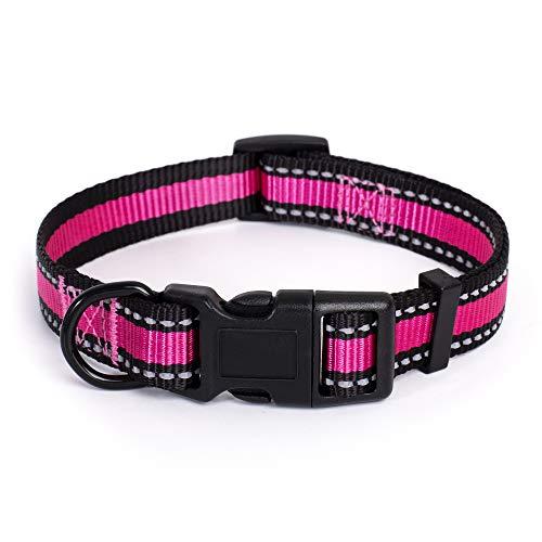 "Mile High Life Dog Collar | Reflective 3M Stripe with Nylon Band (Pink/Black, X-Small Neck 9""-13"" -20 lb)"