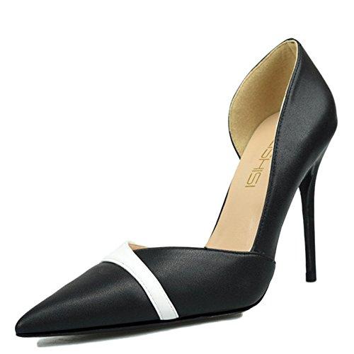 snfgoij Femmes Stiletto High Heel Pointu Chaussures De Travail Chaussures Clubbing Mat Sexy Petite Taille,Black-10cm-34