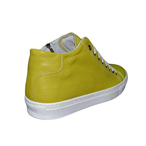sneakers uomo scarpe man vera pelle con cerniera laterale e intrecciatura sottile