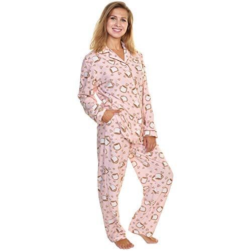 Angelina Womens Cozy Long Sleeve Pajama Set   2 Piece   Sleepwear   Loungewear   Fleece   Coffee L