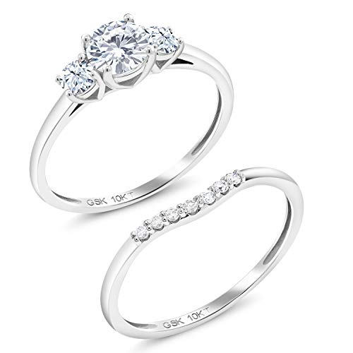 10K White Gold 3-Stone Bridal Set Rings Forever Brilliant (GHI) Round 0.50ct (DEW) Created Moissanite by Charles & Colvard and Created Sapphire (Size 7)