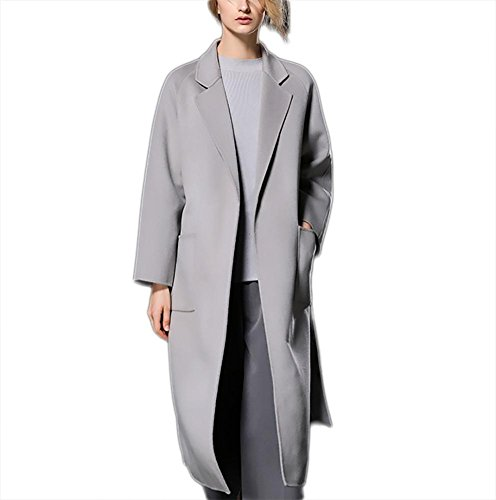 autunno Cappotto Giacca lana cintura inverno Outwear in Collar bifacciale in Windbreaker gray Suit donna Lace up Ispessimento con cashmere 0Yxdqtw0