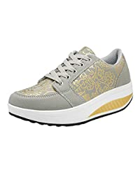 Jesper Women Fashion Casual Sneakers Lace Up Breathable Sport Running Platform Walking Shoes