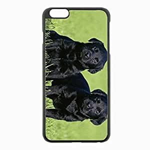 iPhone 6 Plus Black Hardshell Case 5.5inch - dogs grass Desin Images Protector Back Cover