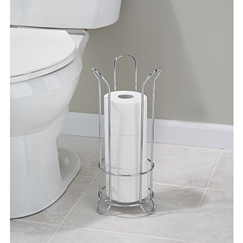 Interdesign classico tulip free standing toilet paper roll - Bathroom toilet paper holder free standing ...
