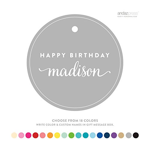Andaz Press Personalized Circle Birthday Gift Tags, Happy Birthday Name, 24-Pack - CUSTOM MADE ANY NAME, COLOR, ()