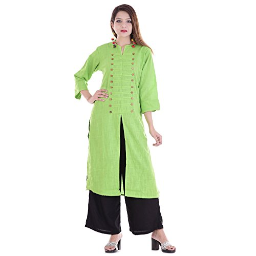 Chichi Indian Women Kurta Kurti 3/4 Sleeve Medium Size Plain with Side-Front Cut Straight Parrot Green Top by CHI