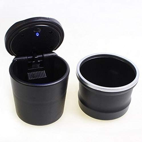 EUEMCH 1PCポータブルLEDシガーライター灰皿ブルーLEDライト無煙灰皿シガレットホルダースリップ