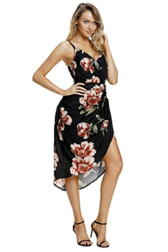 Neck Floral Boho Sleeveless V Dress Silindashop Womens Deep Dresses Black qxSBxYwZ