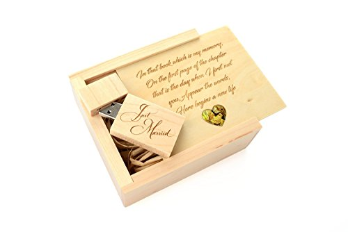 5 Pack Maple 16GB USB Flash Drive - Inserted into a Engraved Maple Box with Pāua Abalone Mother of Pearl Heart Venneer - Raffia grass inside. Laser Engraved Wedding Design