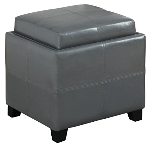 Worldwide Homefurnishings Inc. 402-772GY Faux Leather Storage Cube with Reversible Tray Lid, Grey