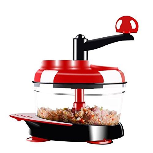 FirstFlourish Manual Hand Crank Food Chopper Meat Vegetable Grinder Mincer Blender Mixer Cutter Food Grade W/ Stainless Steel Blades - Hand Meat Chopper