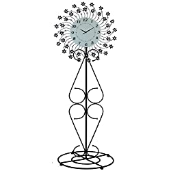 """IMPORTED GIFT DEPOT FLOOR CLOCK FLORAL METAL W/CLEAR CRYSTAL EMBELLISHMENTS 69"""" x 26"""" RUSTIC HOME DECOR"""