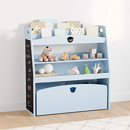 Bestier Toy Storage Rack Kid's Shelf Picture Bookshelf Toys Storage Wooden Lovely Children's Fashion Furniture, Blue