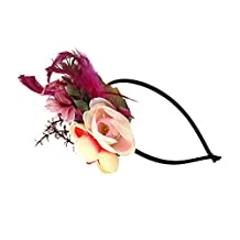 MagiDeal Vintage Feather Flower 1920s Hairband Fascinator Gatsby Headpieces Headwear - Wine Red