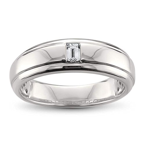 14k White Gold Baguette Diamond Men's Comfort Fit Wedding Band Ring (1/5 cttw, H-I, SI1-SI2), Size 9.5