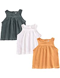 a886bb38eb0 3 Pack of Baby Toddle Infant Girls Cotton Linen Blend Tank Tops T Shirts  Blouse