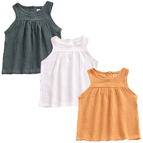 - YAKETERA 3 Pack of Baby Toddle Infant Girls Cotton Linen Blend Tank Tops T Shirts Blouse (6-12 Months, Top#2)