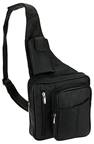 Leather Black Cowhide Multi-Pocket Organizer Carry All Cross-Body Shoulder Messenger Sling Bag with Key Ring - Unisex Black Leather